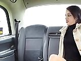 Babe licked after pissing in fake taxi